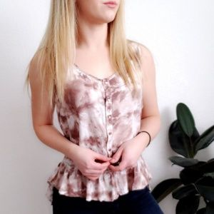 lilly white Tops - Lilly White Tie Dye Peplum Ruffle Hem Tank 178
